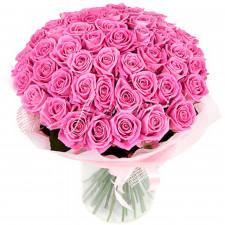 Букет из 51 розовой розы Аква